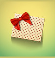 realistic gift box with red ribbon greeting card vector image
