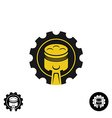 Car piston with pulley gear tech logo vector image