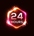 24 hours neon sign open light banner design