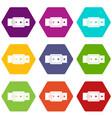black buckle belt icon set color hexahedron vector image vector image