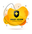 black medical shield with cross icon isolated on vector image vector image