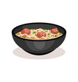 bowl of delicious soup with meatballs and noodle vector image