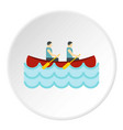 canoe with two athletes icon circle vector image vector image