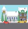 cars on road people near city building in winter vector image