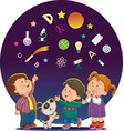 cartoon children with education icons vector image vector image