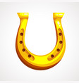 cartoon golden horseshoe for luck lucky st vector image vector image