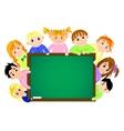 Childrens near the school board vector image