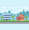 city with two three-story cartoon houses vector image vector image