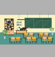class room interior with furniture vector image vector image