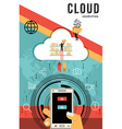 Cloud computing design download data from phone vector image