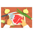 cooking of steak bright color hands vector image vector image