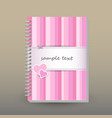 cover of diary pink striped with couple of hearts vector image vector image