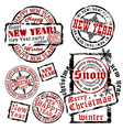 Cristmas and New Year emblems vector image vector image