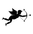 cupid shooting silhouette vector image