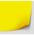 Curl corner yellow paper template Transparent vector image vector image