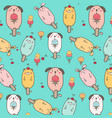 cute animal ice cream pattern background vector image vector image