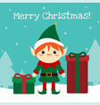 cute chistmas elf standing with presents in the vector image vector image