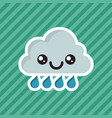 cute kawaii smiling raining cloud cartoon icon vector image