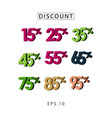 discount set template design vector image