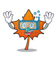 diving red maple leaf character cartoon vector image