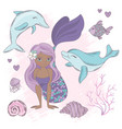 dolphin kiss mermaid sea animals vector image