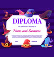 education school diploma with cartoon witch hats vector image vector image