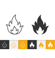 fire simple flame bonfire black line icon vector image