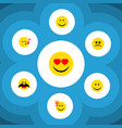 flat icon expression set of cross-eyed face smile vector image vector image