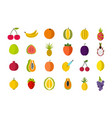 fruits icon set flat style vector image vector image