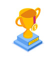 gold cup with a medal for first place flat vector image vector image