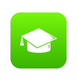 graduation cap icon green vector image