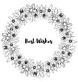 hand drawn vintage floral round frame vector image vector image