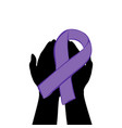 hands hold with purple ribbon world epilepsy day vector image