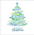 Handwritten Christmas Card Word Cloud tree design vector image vector image