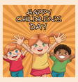 happy children day card cute girl and boys vector image