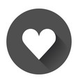 heart icon flat heart with long shadow vector image