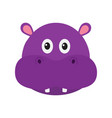 hippopotamus head face cute cartoon character vector image vector image