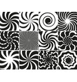 hypnotic shapes collection radial black white vector image vector image
