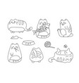 image with funny hand drawn cats animals vector image
