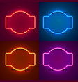 neon frame sign in shape a square vector image vector image