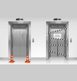 out order elevator with closed broken door vector image vector image
