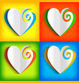 paper white hearts collection vector image vector image