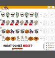pattern game for children with cartoon halloween vector image vector image