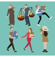 people man woman character bring stuff carry vector image vector image