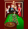 people playing roulette in a casino vector image vector image