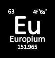 periodic table element europium icon vector image vector image