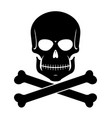 scull and bones black on white vector image