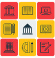 set of 9 education icons includes paper college vector image vector image