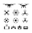 set of aerial drone or quadcopter and remote vector image