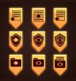 set of orange icons for antivirus vector image vector image